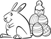 Easter bunny and eggs coloring page — Stock Vector