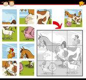 卡通农场动物拼图游戏 — 图库矢量图片