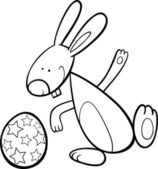 Funny easter bunny coloring page — Stock Vector