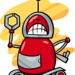 Stock Vector: Angry robot cartoon illustration