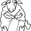Stock Vector: Knitting sheep coloring page