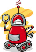 Angry robot cartoon illustration — Stock Vector