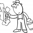 Vetorial Stock : Worker with plaster coloring page
