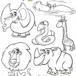 Stock Vector: Cartoon animals set for coloring book