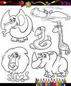 Cartoon animals set for coloring book — Stock Vector