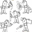 Stock Vector: Cartoon workers set for coloring book