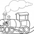 Cartoon locomotive or engine coloring page — Stock Vector