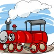 Cartoon locomotive or engine character — Stock Vector