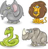 Cute wild animals set — Stock Vector