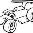 Stock Vector: Racing car bolide coloring page