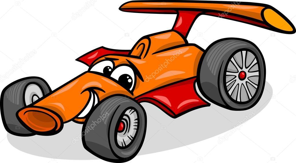 illustration de dessin anim drle racing voiture vhicule ou bolide mascotte comique caractre vector by izakowski