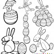Easter cartoons for coloring book — Stock Vector #40705171