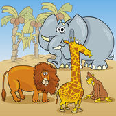 Cute african animals cartoon illustration — Cтоковый вектор