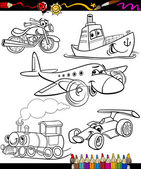 Transport set for coloring book — Stock Vector