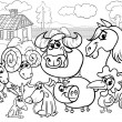 Farm animals cartoon coloring page — Stock Vector