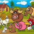 Farm animals group cartoon illustration — Stock Vector