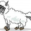 Stock Vector: Wolf in sheeps clothing cartoon