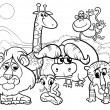 Wild animals cartoon coloring page — Stock Vector