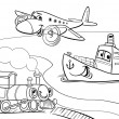Stock Vector: Plane ship train cartoon coloring page