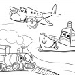 Plane ship train cartoon coloring page — Stock Vector