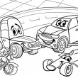 Stock Vector: Cars vehicles cartoon coloring page