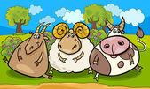 Farm animals group cartoon illustration — Stock Vector