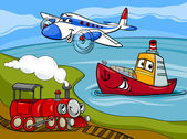 Plane ship train cartoon illustration — Stock Vector