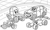 Cars vehicles cartoon coloring page — Stock Vector