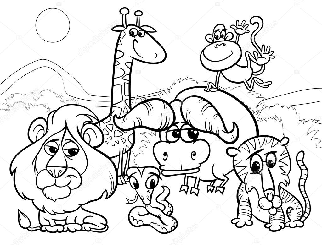 Stock Illustration Wild Animals Cartoon Coloring Page on Zoo Scene Coloring Page