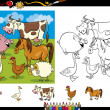 Farm animals coloring page set — Stock Vector