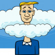 Stock Vector: Head in clouds saying cartoon