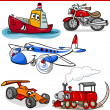 Stock Vector: Funny cartoon vehicles and cars set