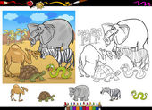 Safari animals coloring page set — Stock Vector