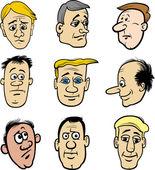 Kreskówka mężczyźni znaków głowy zestaw — Wektor stockowy