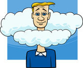 Head in the clouds saying cartoon — Stock Vector
