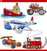 Funny cartoon vehicles and cars set — 图库矢量图片