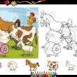 Farm animals cartoon coloring page set — Stock Vector