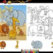 african animals coloring page set — Stock Vector