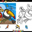 Exotic birds cartoon coloring page set — Stock Vector