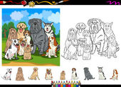Dog breeds cartoon coloring page set — Stock Vector