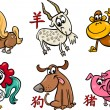 Chinese zodiac horoscope signs — 图库矢量图片