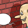 Stock Vector: Talking to brick wall cartoon