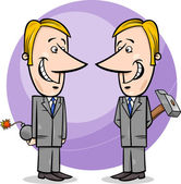 Two false businessmen cartoon — Stock Vector