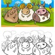 Cartoon farm animals coloring page — Stock Vector
