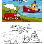 Cartoon plane train ship coloring page — Stock Vector #42322285