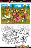 Cartoon farm animals for coloring book — 图库矢量图片