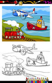 Cartoon plane train ship coloring page — Stock Vector