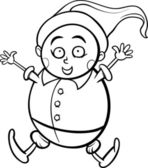 Gnome or dwarf cartoon coloring page — Stock Vector