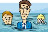 голова над водой, говоря мультфильм — Cтоковый вектор