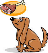Dog and haunch cartoon illustration — Stock Vector
